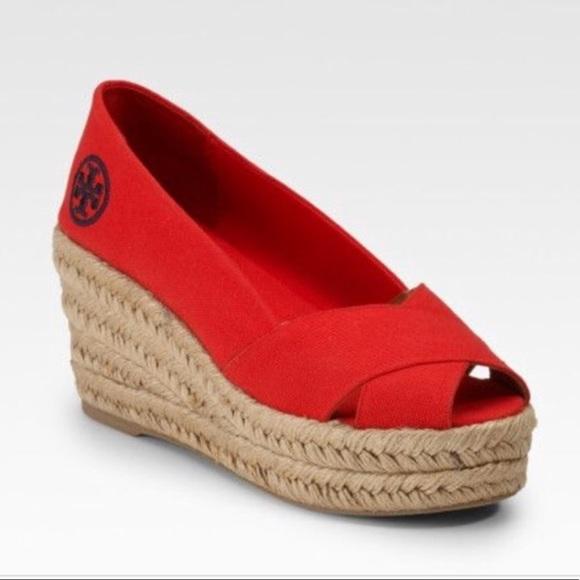 9a742fb8dd4a17 Tory Burch Red Canvas Peep Toe Espadrille Wedges. M 5ab6d4696bf5a66d826d8649